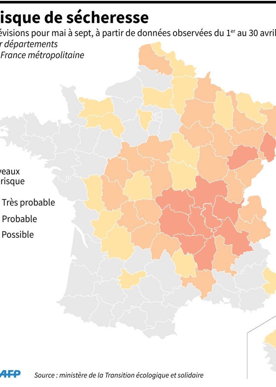 Sécheresse: 53 départements anticipés à risque cet été