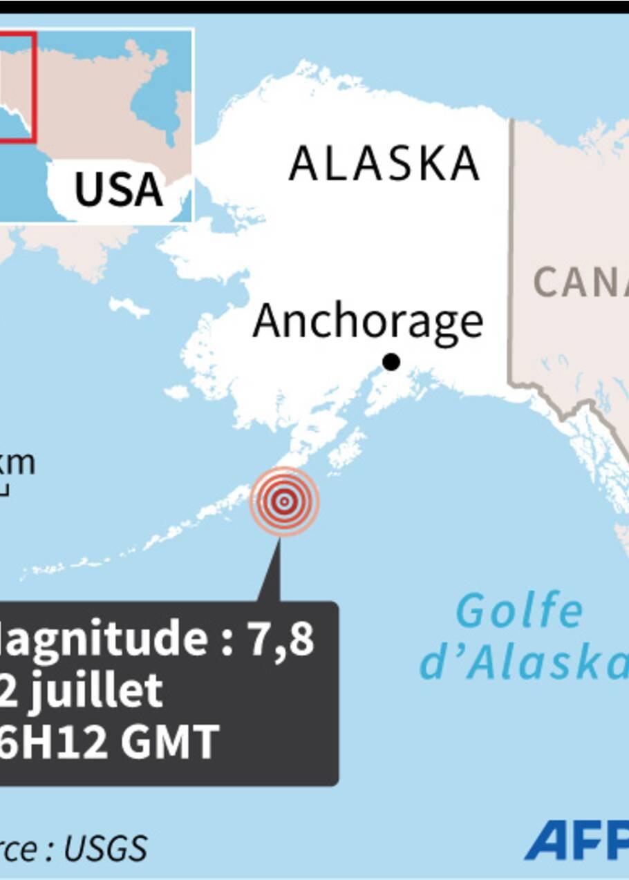 Séisme de 7,8 au large de l'Alaska, brève alerte tsunami
