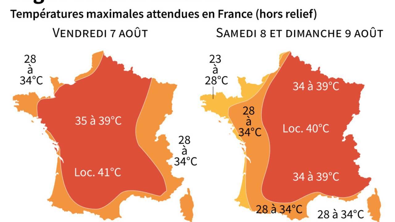 """""""Chaleur intense"""": 45 départements en alerte canicule, selon Météo-France"""