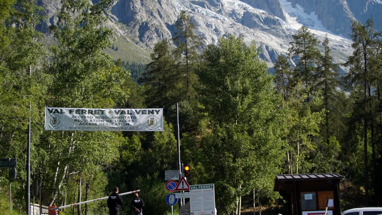 """Mont Blanc: situation """"en légère amélioration"""" au glacier italien du Planpincieux"""