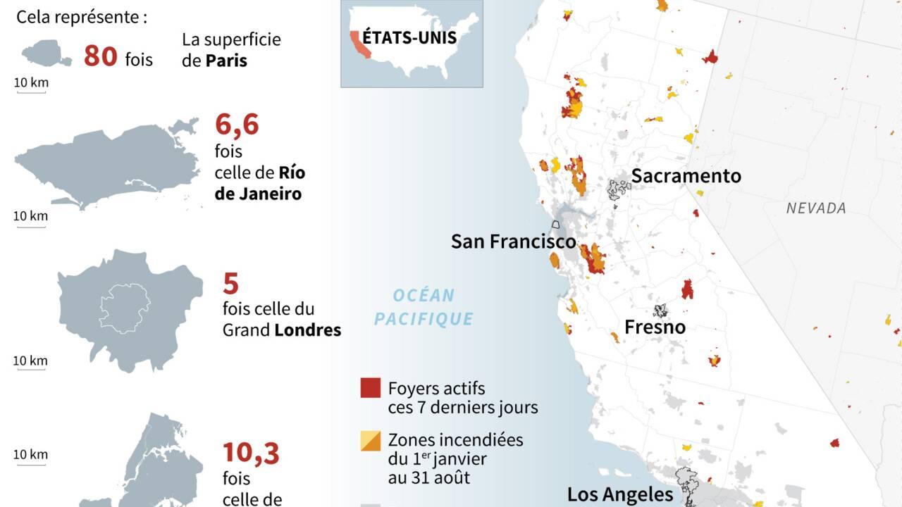 Plus de 8.000 km2 incendiés en Californie, un record depuis 1987