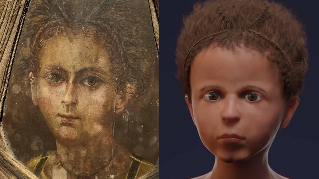 Des chercheurs reconstruisent le visage d'une momie égyptienne pour le comparer à son portrait