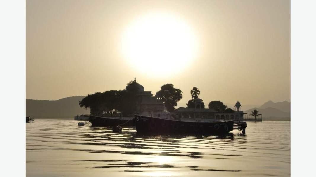 Coucher de soleil à Udaipur la blanche