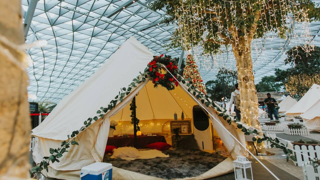 A Singapour, un aéroport se transforme en camping glamour