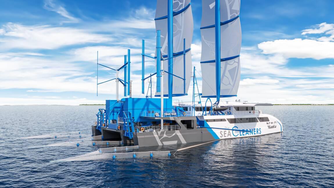 Le navigateur Yvan Bourgnon présente son futur voilier ramasseur de plastiques