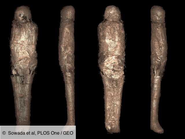 Une momie égyptienne couverte d'une