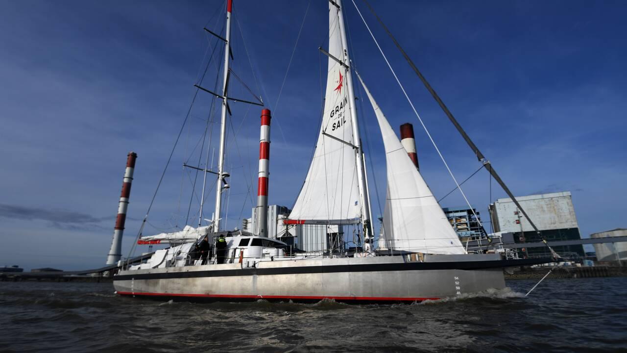 """Arrivée à Nantes du cargo à voiles """"Grain de Sail"""" après sa première transatlantique"""