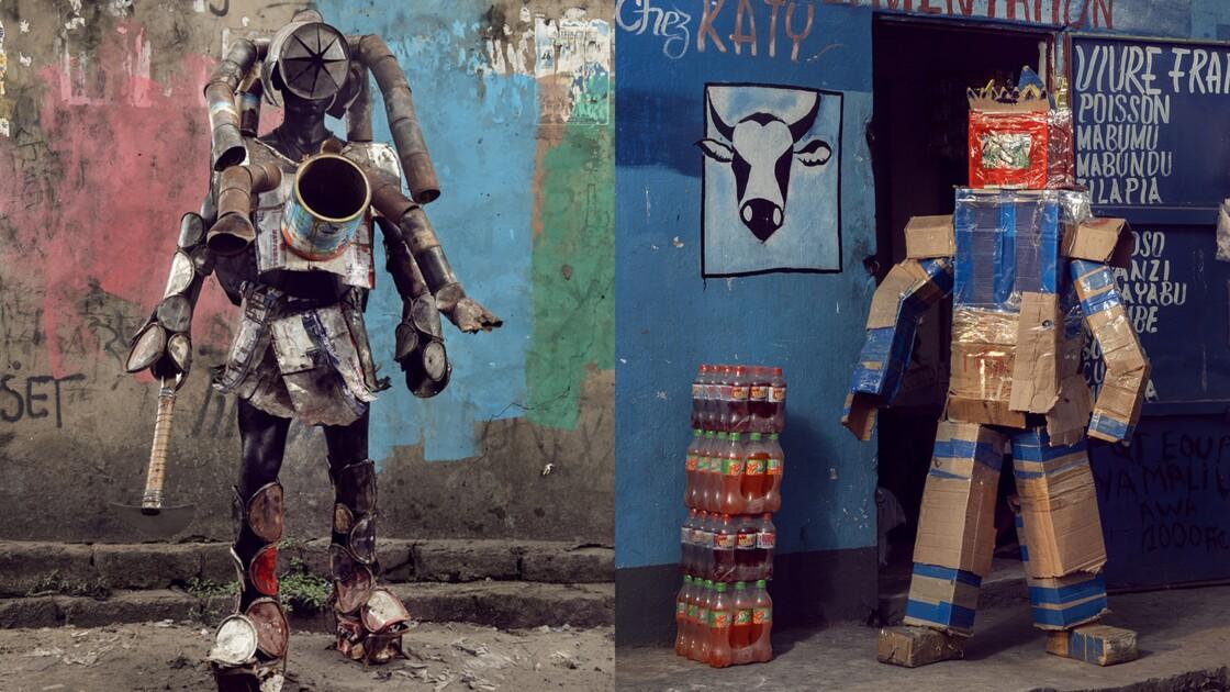 """Femme plastique, homme carton... En RDC, avec les """"chevaliers masqués"""" de Kinshasa"""