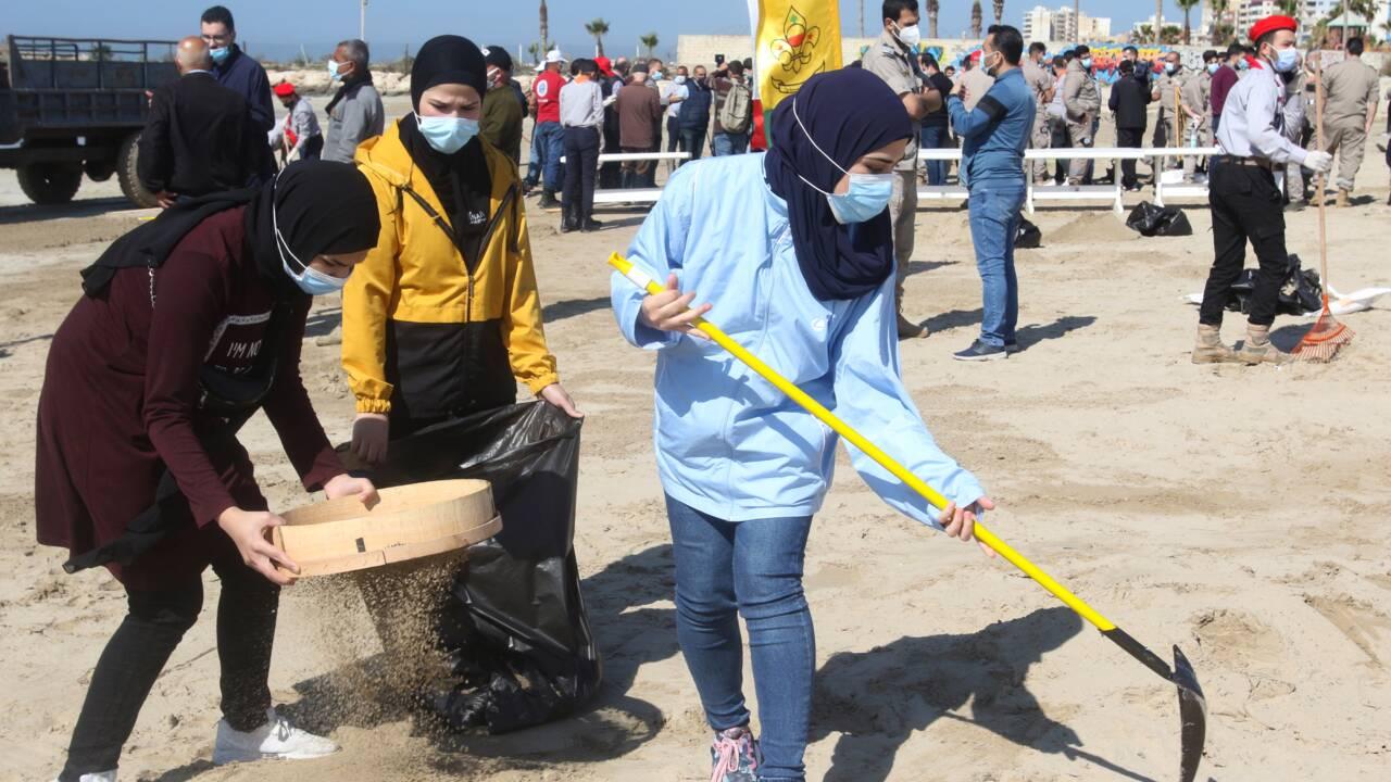 Liban: nettoyage d'une réserve naturelle après une marée noire en Israël