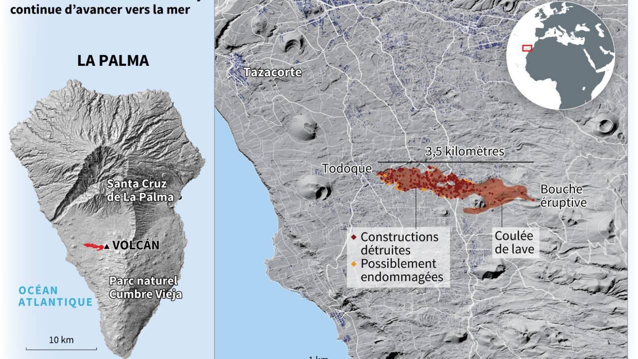 Eruption volcanique aux Canaries : la lave avance lentement, mais jusqu'où ?