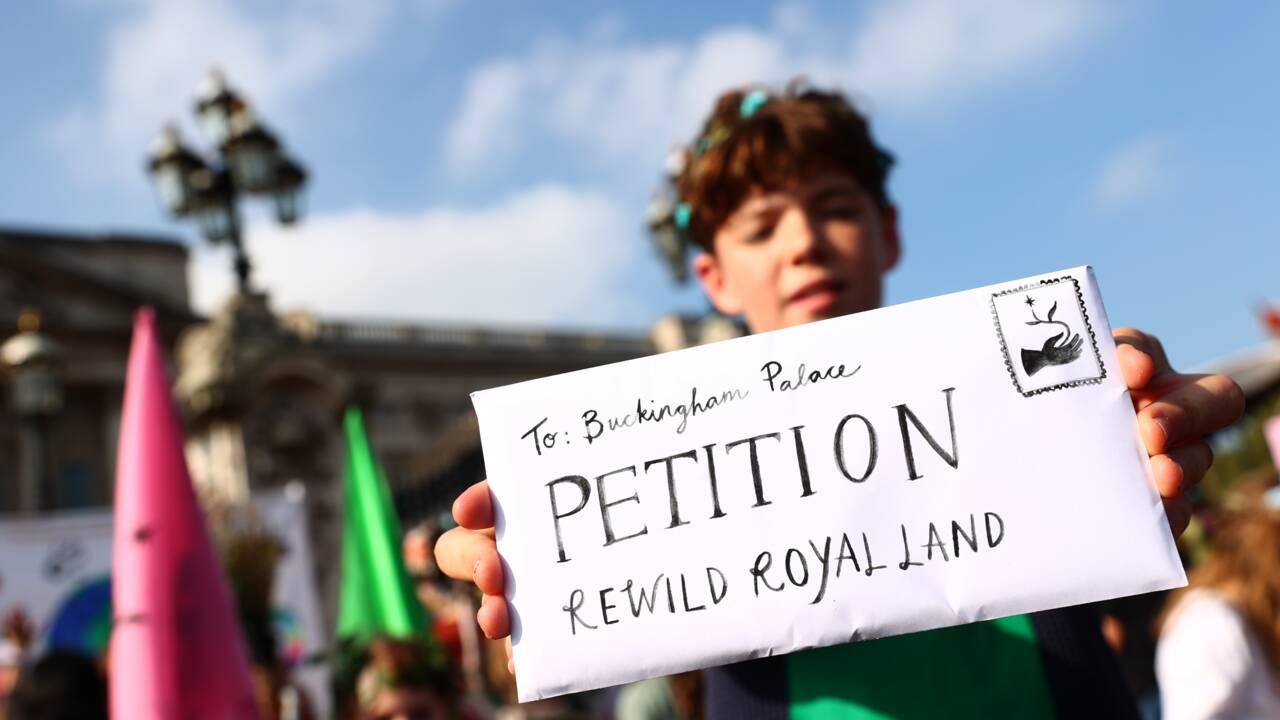 """Devant les grilles de Buckingham, des jeunes demandent à Elizabeth II de """"réensauvager"""" les terres royales"""
