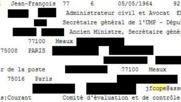 Les données personnelles de Jean-François Copé ont été divulguées sur Internet, parmi celles de 700 membres de l'UMP. © Capture d'écran réalisée par Rue 89.