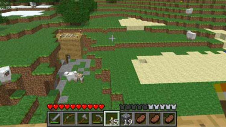 Capture d'écran du jeu Minecraft, mot-clé le plus recherché sur Google en France, en 2011.