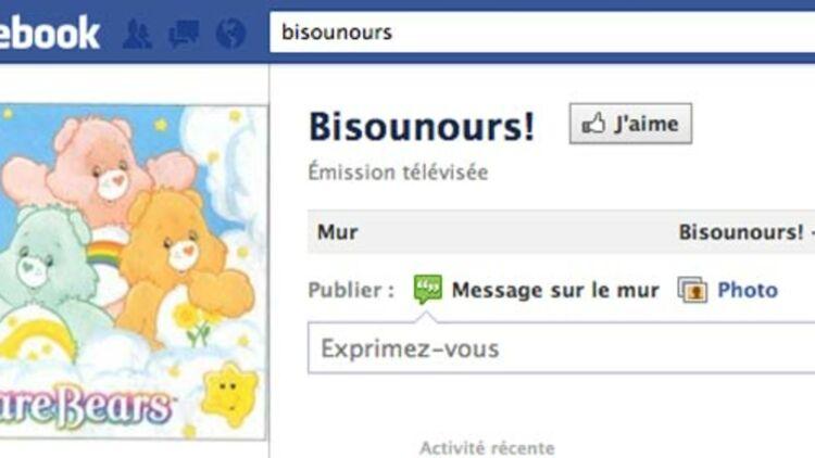 """Capture d'écran de la fanpage officielle """"Bisounours"""" sur Facebook"""