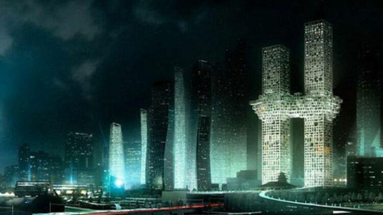 """Le """"nuage de pixels"""" reliant les deux tours du projet """"The Cloud"""" est accusé de rappeler les attentats du 11 septembre. © MVRDV."""