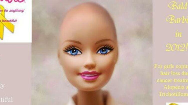 """Photomontage d'une Barbie chauve, sur la page Facebook """"Beautiful and bald Barbie !"""""""