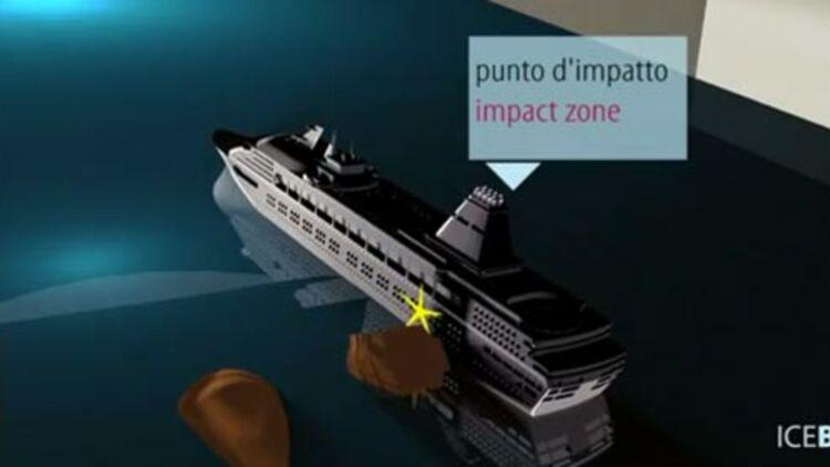 Le naufrage du Costa Concordia expliqué en animation. Capture d'écran de la vidéo Youtube de l'agence italienne Blue.it.
