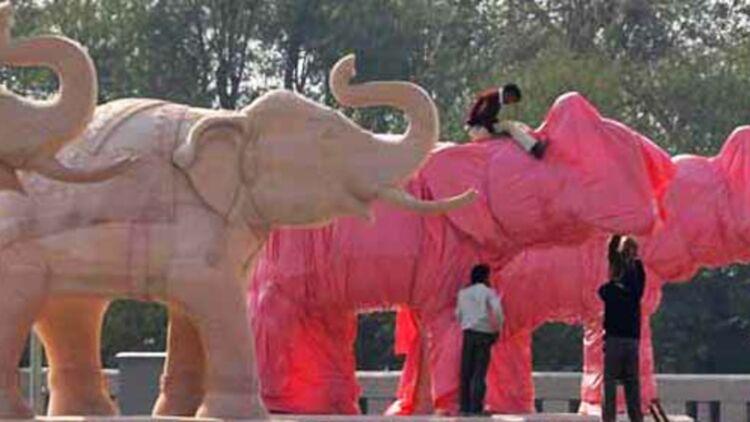 Toutes les statues d'éléphants de l'Etat de l'Uttar Pradesh doivent être recouvertes de plastique avant mercredi 11 janvier au soir. © REUTERS.