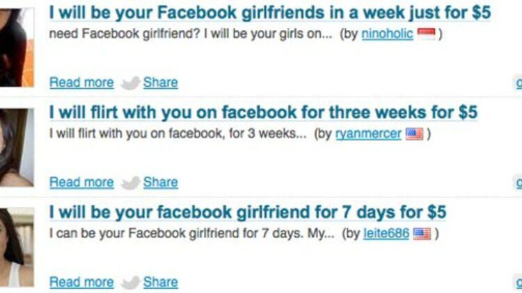 des petites copines Facebook pour 5 dollars. capture d'écran du site Fiverr