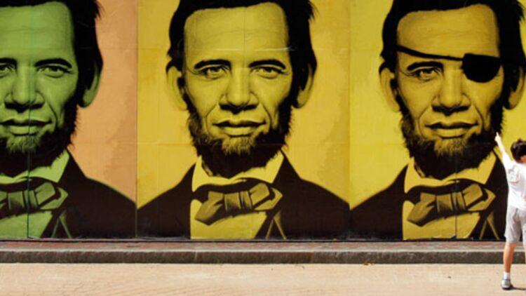 Une combinaison du portrait de Barack Obama et d'Abraham Lincoln ©REUTERS