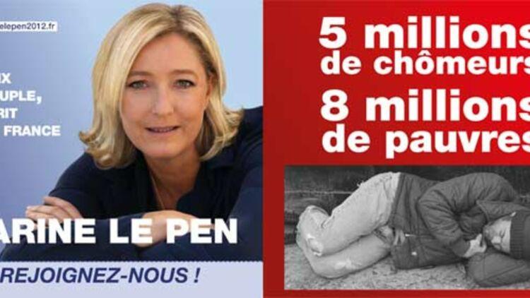 Le SDF du tract de Marine Le Pen sur le chômage et la pauvreté est en réalité un modèle américain. © REUTERS.