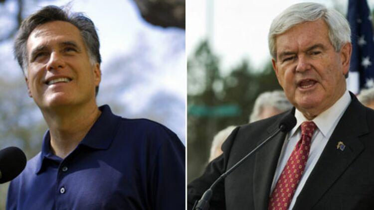 Newt Gingrich et Mitt Romney ont débattu des grands enjeux de la campagne, le 26 janvier 2012 à Jacksonville, en Floride. © REUTERS.