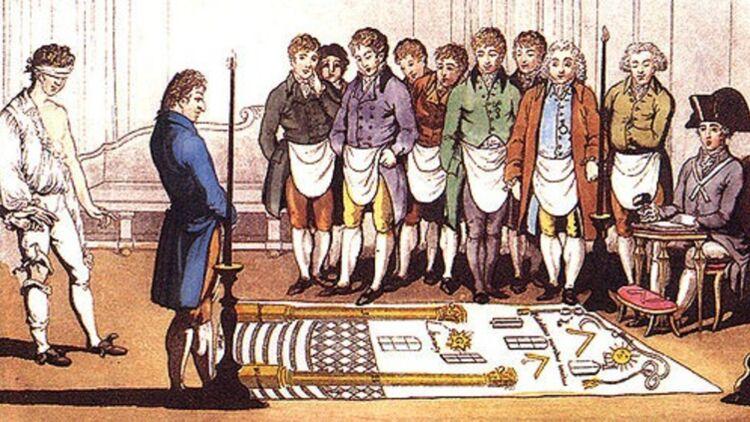 Initiation d'un apprenti franc-maçon vers 1800. Image: wikimedia commons