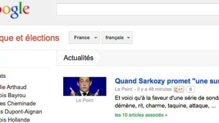 capture d'écran de la plateforme Google élections