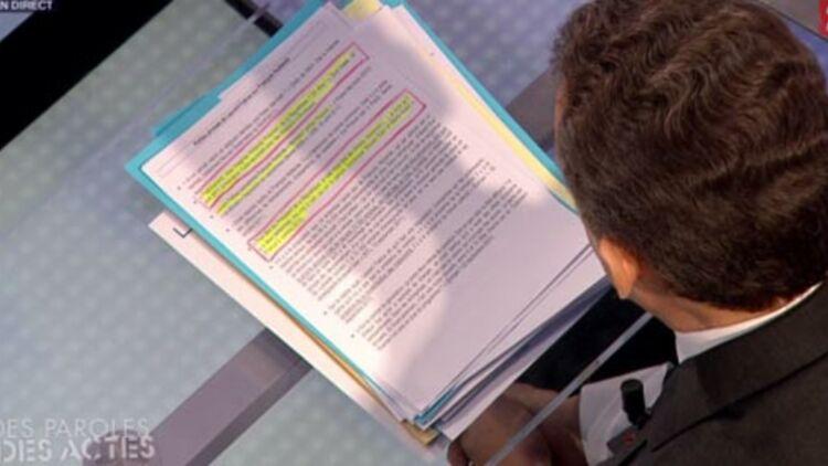 capture d'écran de la fiche de Nicolas Sarkozy sur les petites phrases de Laurent Fabius à l'encontre de François Hollande, lors de l'émission 'Des paroles et des actes' sur France 2, le 6 mars 2012. Photo: @salam93
