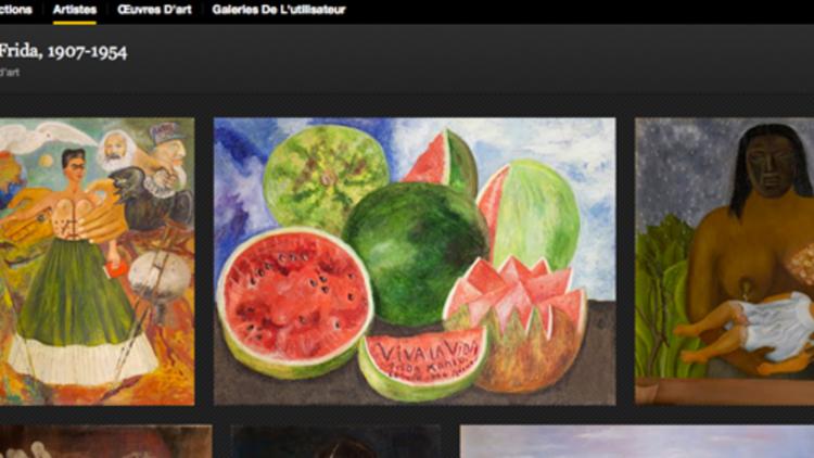 Capture d'écran de Google Art Project, oeuvre de Frida Kahlo.