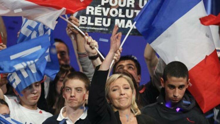 Marine Le Pen, lors d'un meeting à Lyon, le 7 avril 2012. © REUTERS