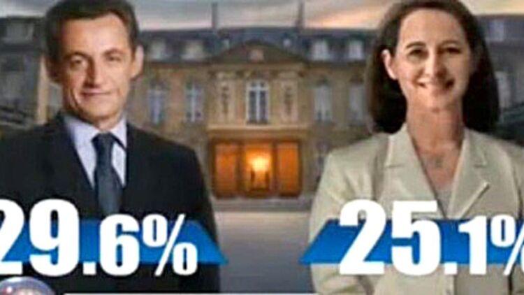 Premières estimations du premier tour de la présidentielle en 2007, capture d'écran via Youtube.