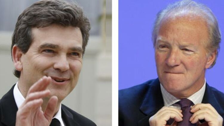 """À gauche, Arnaud Montebourg a été condamné à 1€ de dommages et intérêts pour """"injure"""". À droite, Brice Hortefeux, condamné deux fois en 2010 alors qu'il était ministre de l'Intérieur. © REUTERS"""