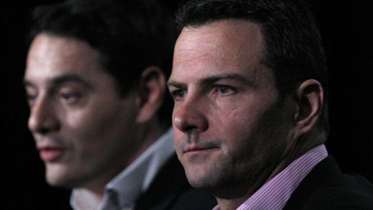 Jérôme Kerviel (au premier plan) et son nouvel avocat David Koubbi, lors d'une conférence de presse à Paris, le 27 avril 2012. © REUTERS.