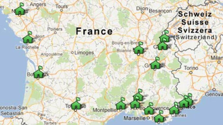 """Détail de la """"carte des communes concernées par le blocage des loyers"""". © Quoi.info."""