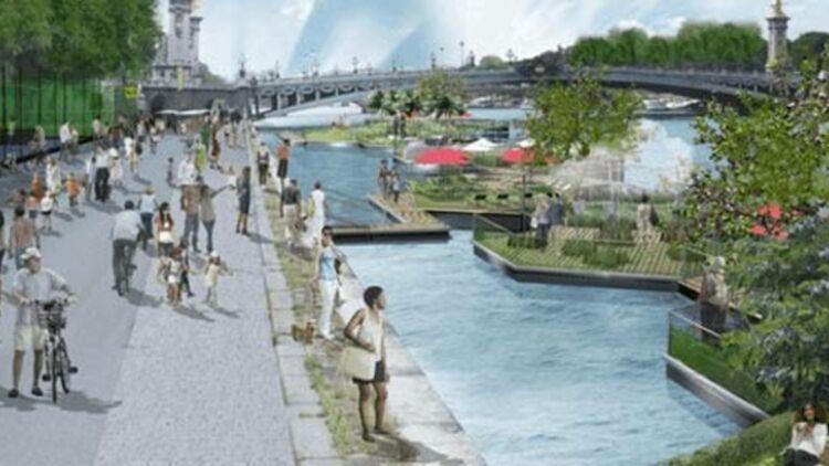 Modélisation du projet des berges de Seine au niveau du pont de la Concorde. © Apur - J.C. Choblet / voiessurberges.fr.