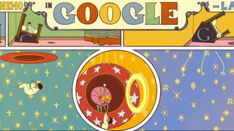 Little Nemo in Google Land, hommage de Google au 107e anniversaire de la BD américaine Little Nemo in Slumberland. Capture d'écran.