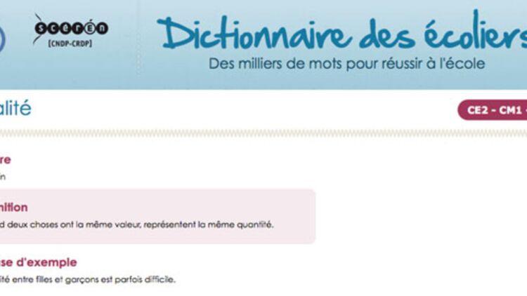 """Dans le Dictionnaire des écoliers """"l'égalité entre filles et garçons est parfois difficile""""."""