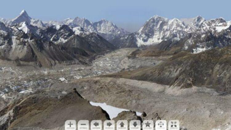 capture d'écran de la photographie de 2 milliards de pixels réalisée par David Breashears dans le cadre de la mission glacierworks.org