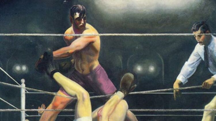 """Dempsey and Firpo"", 1924, by George Bellows."