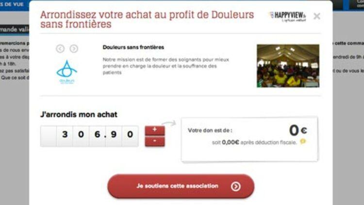 """capture d'écran du module """"Give"""" sur un site de e-commercie. via © ZeGive"""