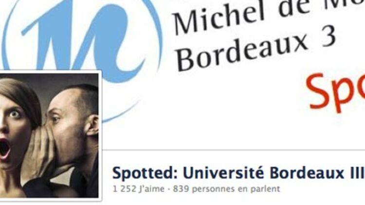 """capture d'écran de la page Facebook """"spotted université Bordeaux III"""""""