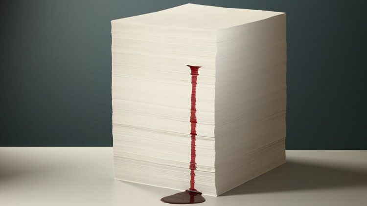 feuille, sang, se couper, papier