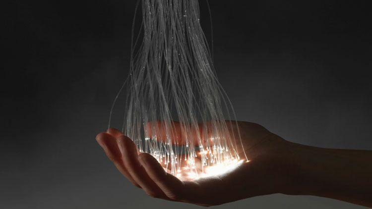 fibre optique, lumière