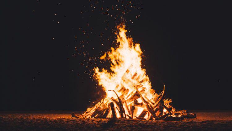 feu, plage, bois, flamme