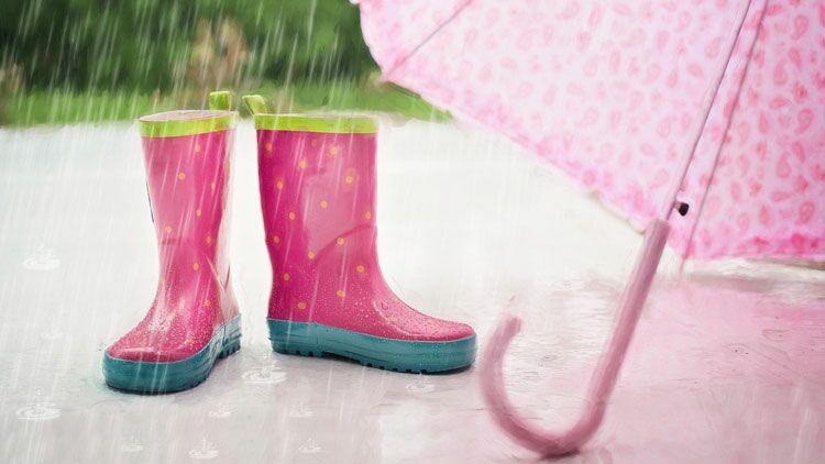pluie, bottes, parapluie