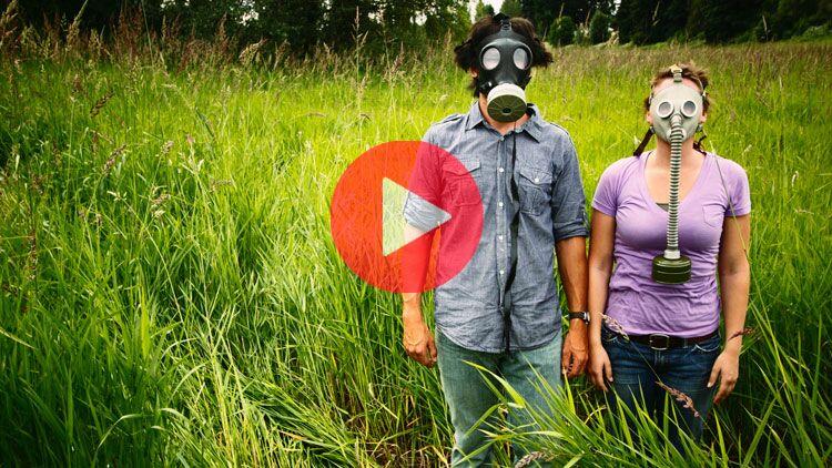 masque à gaz, herbe, guerre, écologie