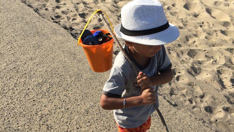 plage, enfant, école, sable, seau