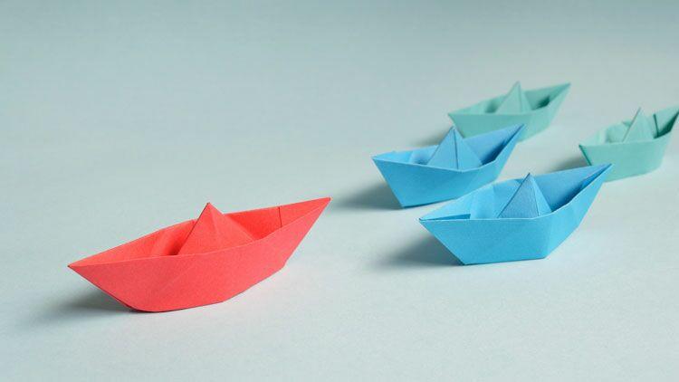 bateau, papier, tribord, bâbord