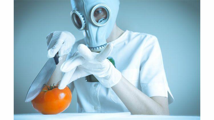 légume, toxique, masque à gaz, combinaison